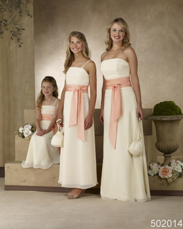 country style white/pink/grey/blue ciffon bridesmaid/flower girl/mother of the bride dresses all size&custom-made Timebridal(China (Mainland))