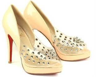 Paris fashion high-heeled sandals rivet unique red sole shoes(China (Mainland))