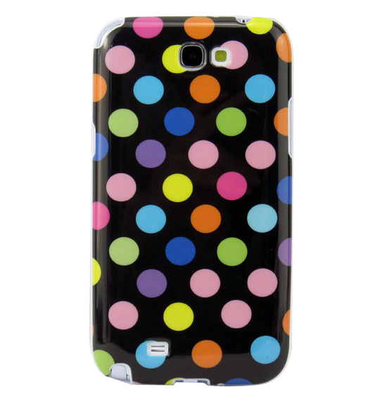 Refreshing Colorful Polka Dot TPU Case For Samsung Galaxy Note 2 N7100 Black(China (Mainland))