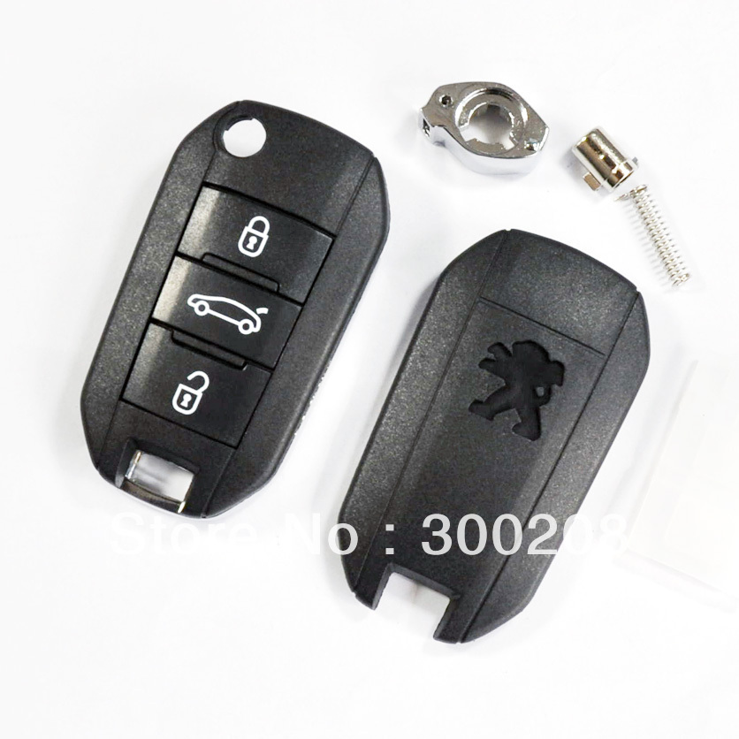 10pcs/lot High Qulity 3 Buttons Modified Flip Remote Key Shell for Peugeot Car Key Cover Replacement + HKP Free Shipping(China (Mainland))