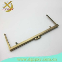 21.5*8.3cm antique brass metal frame for making purse and handbag with elegant kiss lock