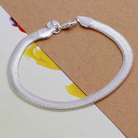 H164 Wholesale! Free Shipping Wholesale 925 silver Plated bracelet Flat Snake Bone Bracelet