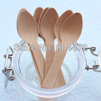 Disposable Wooden Small Spoon Heavy Weight 100 / Pack  4 1/4 inch Flatware Cutlery Camping Free Shippping 1521