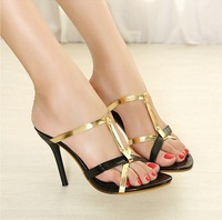 2013 Most Newest Sexy Fashion High heel Sandals Women's Prom Wedding Shoes Black&Gold X365