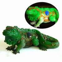 NEW Kung Fu Tea RESIN Pet Home Decoration 15cm Large Chameleon  Change Color to Green/Red Jade Agate
