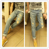 Ripped jeans for men Big hole Light blue Water wash Korean style.Fashion.Free shipping.1 Piece.Wholesale.New