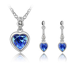 Shinning Crystal Jewelry Set Cherish love Necklace and Drop Earring Unique Gift Free Shipping(China (Mainland))