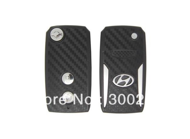 5pcs/lot 2 Buttons Modified Flip Remote Key Shell for Hyundai Terracan 3D Carbon Fiber Sticker Car Keys Cover + Free Shipping(China (Mainland))