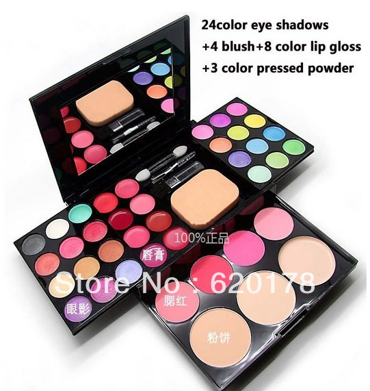 NEW Free combination makeup sets, 24color eye shadows+4 blush+8 color lip gloss+3 color pressed powder/50G minerals makeup kit(China (Mainland))