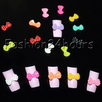 New 100pcs Mixed Colors Acrylic Nail Decoration Cute Bow Tie 3D Nail Art Tips Nail Decoration Free S