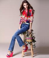 2014 Top Grad Hight Quality Summer Digital Print Casual Brand Shirts women