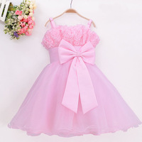 Baby Girl's Fashion Party Dresses Children's Pure Color Sleeveless Slip 3D Rose Flowers Big Bowknot Voile Princess Dress