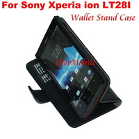 2013 New Slim Wallet Stand Case Mobile Phone Leather Case For Sony Xperia ion LT28i LT28h