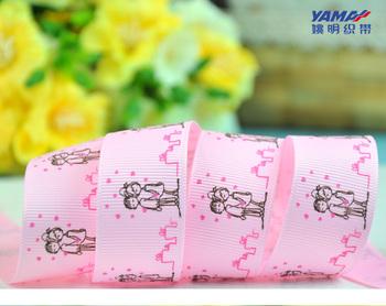 "1"" 25mm Grosgrain ribbon Figure drawing ribbon DIY accessories 100 yards/roll Pink  free shipping"