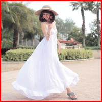 2013 solid color beach dress bohemia full spaghetti strap ultralarge V-neck cotton one-piece dress  free shipping