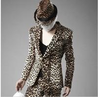 fashion men leopard print blazer for stage proms party club new arrive