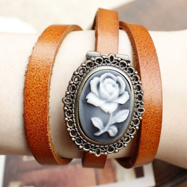 2013 spirally-wound 3 ring smooth rose vintage accessories genuine leather watchband women's inveted ewelry slap watch(China (Mainland))