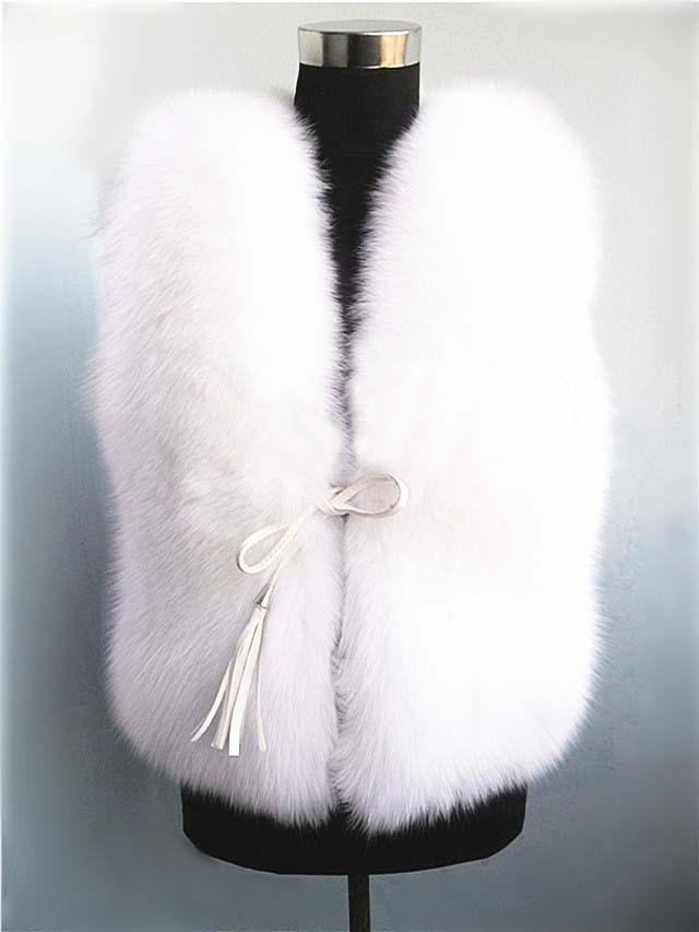 White Snow !!! Designer Warm In Winter Genuine Pure Fox Fur Vest women Gilet Wasitcoat Outwear Fur Garment Wholesale(China (Mainland))
