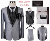 Free Shipping Men's Brand Wedding Suits High Quality Formal Wedding Dress Tuxedo One Button 5 piece Suit Set jacket+pants+vest