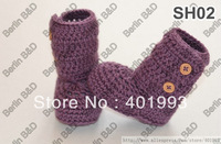 Fashionable Wholesale Baby Footwear,Purple Handmade Crochet Newborn Baby Winter Boots for Toddlers