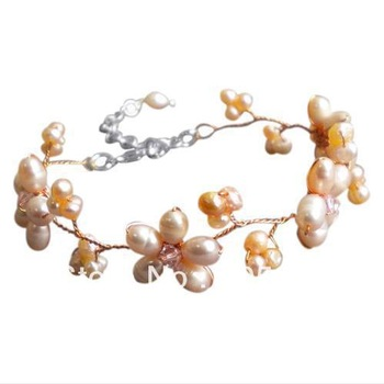New Free Shipping Pearl Jewellery 5-9mm Pink Color Natural Freshwater Pearl Bracelet 8'' Fashion Jewelry Handmade Style