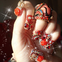 Free Shipping 2013 New Fashion Luxury Sparkling Diamond 3D Crown Bow Red Bride Fake Nails Handmade Art Tips Finished Product