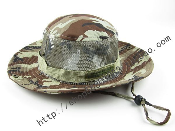 Camouflage sunbonnet jungle hat photography cap bucket hat sun rim hat(China (Mainland))