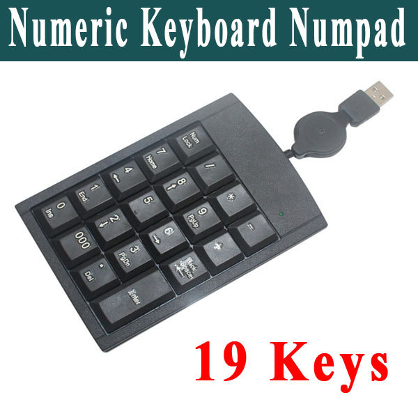 5Pcs/lot Black USB 2.0 Mini 19 Keys Keypad Numeric Keyboard Numpad For Laptap Computer Tablet Cheap Price Freeshipping(China (Mainland))