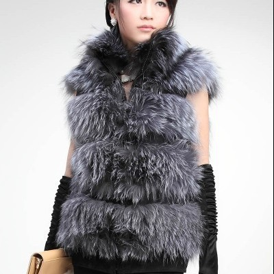 NEW Designer Top Quality Genuine Silver Fox Fur Vest For Fashion Womens Vest/Gilet Outwear FREE SHIPPING TO EMS(China (Mainland))