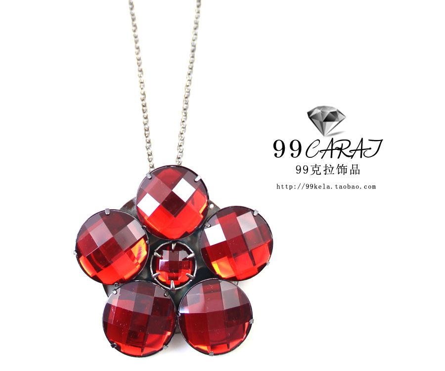 Free shipping 2013 ruby flower black purple color chain earring necklace set hw(China (Mainland))