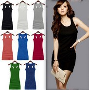2014 Free shipping  2013 new spaghetti strap vest basic full dress candy color tank female cotton ultra long p936 ow
