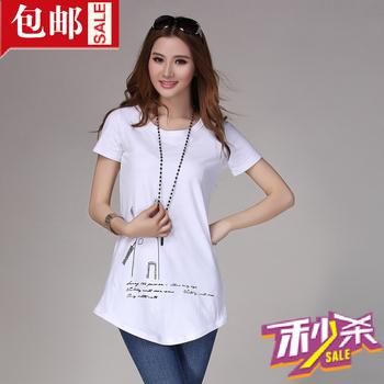 Summer all-match long design t-shirt windmill pattern long T-shirt short-sleeve shirt circarc 024 sweep