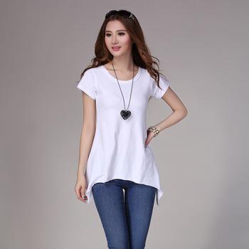 2013 plus size clothing o-neck long sleeve length loose basic shirt irregular sweep