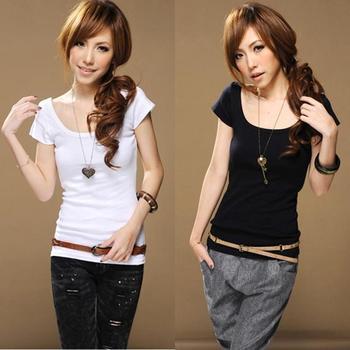 2013 summer o-neck fashion slim female short-sleeve shirt casual T-shirt basic