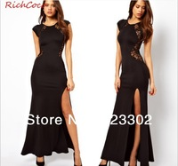 Free shipping Drop Shipping Loose Low-key lace Luxury Long Evening dress party dress Sexy Side slits dress