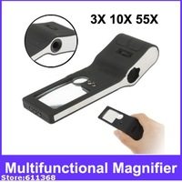 TH515 3X, 10X, 55X Multifunctional Magnifier with 5 LED Lights & Money Detector Light (Black)