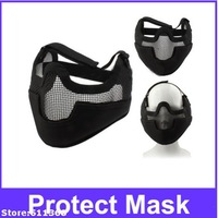 Tactical Steel Net Mesh Style Protect Mask with Elastic Strap & Velcro for Outdoor War Game Activity (Black)