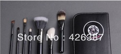 free shipping new 2set makeup brush Professional hello kitty 7pcs Brush Set +Leather Bag(China (Mainland))