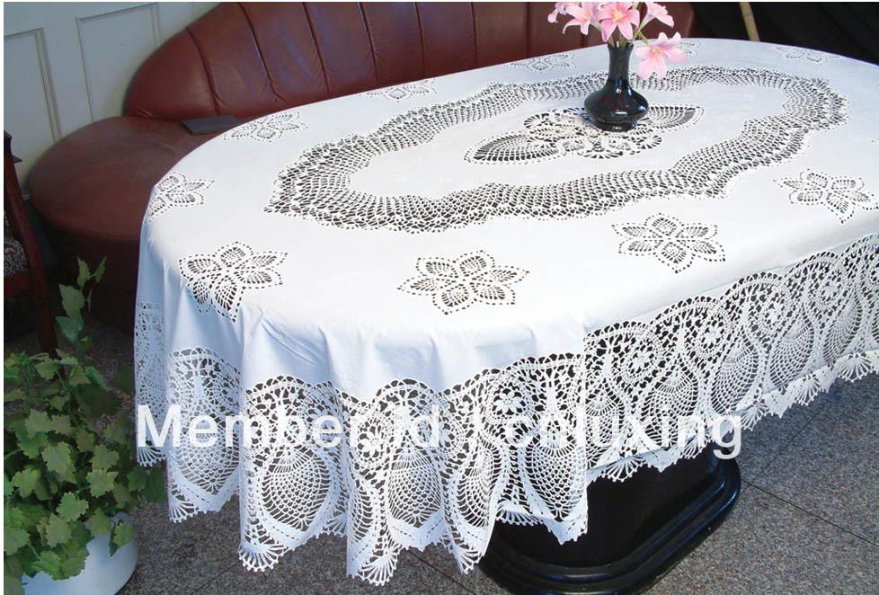 Oval crochet pvc nappe 60 90 dans linge de table de for Nappe pour table ovale
