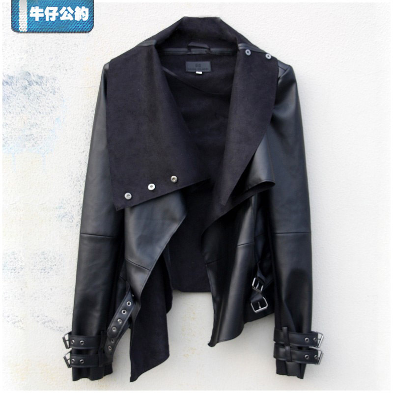And autumn women s fashion motorcycle jacket o neck pu jackets women
