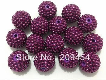 Hot sale 22MM 100pcs/lot Purple Pearl Rhinestone Beads ,Chunky Disco Ball Beads Free Shipment