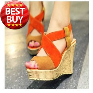 2013 new hit color fish head sandals slope with high-heeled shoes large size shoes 40-43(China (Mainland))