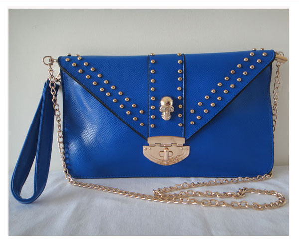 A0087(blue),Bester price in AliExpres,2013 promotion envelope lady clutches bags,leather shoulder,bags for woman,free shipping!(China (Mainland))