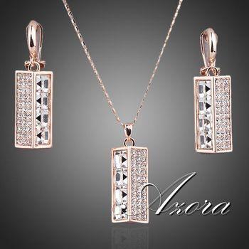Азора новый 18 К роуз позолоченные Stellux австрийский кристалл лампы падение серьги и ожерелье ювелирные комплект TG0043