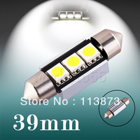 2pcs 39mm 3 SMD 5050 Pure White Dome Festoon CANBUS Error Free Car 3 LED Light Lamp Bulb 12V