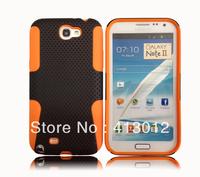 2in1 Mesh Hole Hybrid Heavy Duty Rubber Soft Gel Silicone Plastic Case Cover For Samsung Galaxy N7100 Note2 N71C27