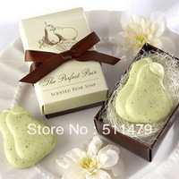 "FREE SHIPPING+""The Perfect Pair"" Scented Pear Soap+100sets/lot+Good for Wedding Favors(RWF-0019P)"