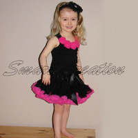 Factory wholesale girl's pettiskirt,dance skirt ,princess skirt five flower black sets ,5sets/lot