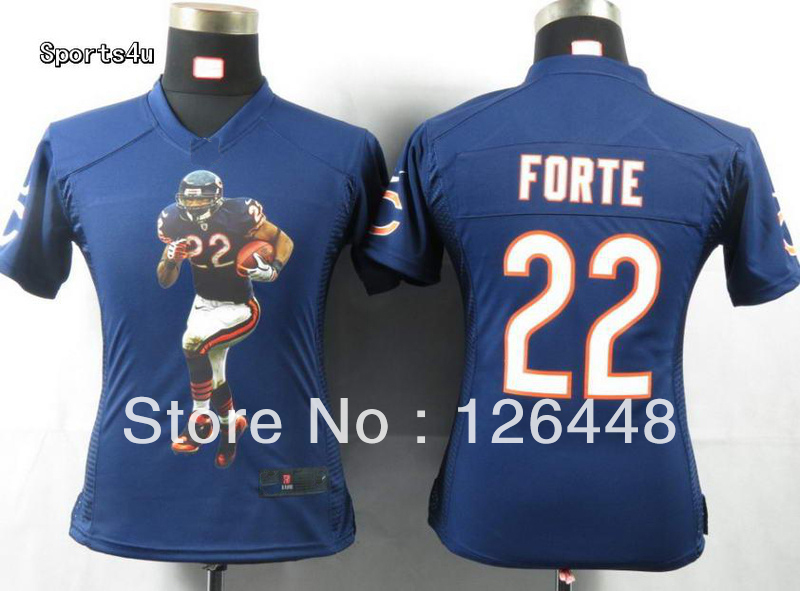 Womens Name Brand Chicago 22 Matt Forte navy blue American Football Jerseys for Ladies Embroidered Logo Mix Order(China (Mainland))