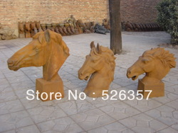 Elegant cast iron carving - the head of horse statue / sculpture , best collection & adornment(China (Mainland))